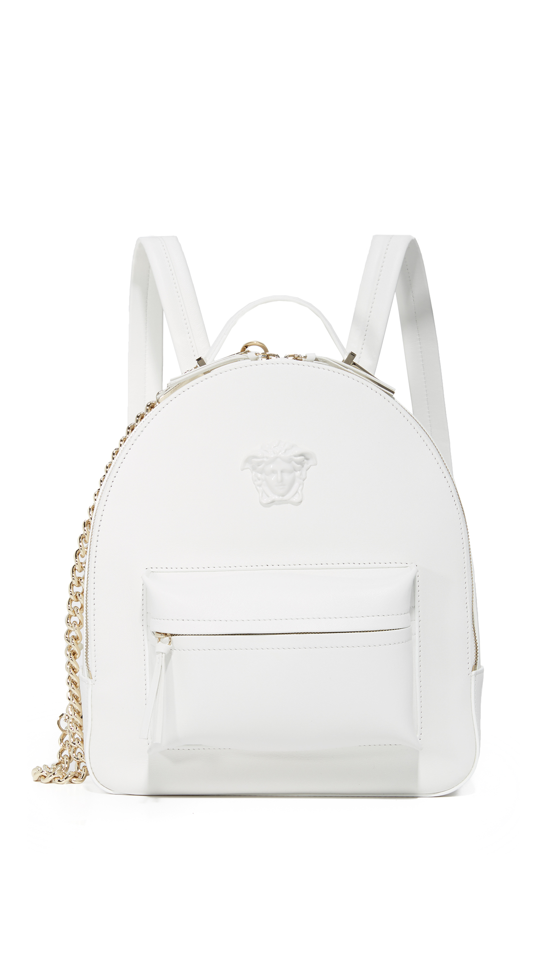 A bright leather Versace backpack detailed with a signature Medusa medallion. Front zip pocket. The wraparound top zip opens to a lined, 1 pocket interior. Locker loop and adjustable shoulder straps. Dust bag included. Leather: Calfskin. Weight: 37