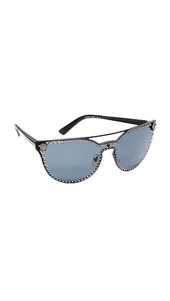 Versace Rock Brow Bar Sunglasses - Matte Black/Grey