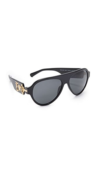 Versace Medusa Flat Top Sunglasses - Black/Grey