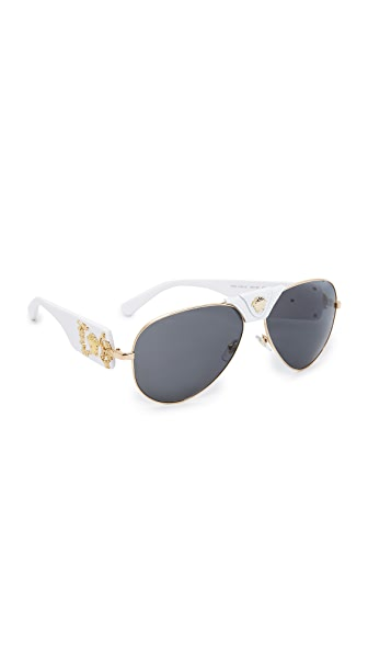 Versace Medusa Aviator Sunglasses - White/Grey
