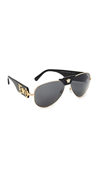 Versace Medusa Aviator Sunglasses - Black/Grey