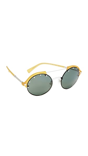 Versace Studded Brow Bar Sunglasses - Opal Yellow/Green