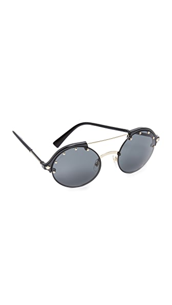 Versace Studded Brow Bar Sunglasses - Black/Grey