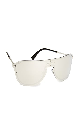 Versace Mirrored Shield Sunglasses In Silver/Silver