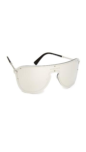 Versace Mirrored Shield Sunglasses