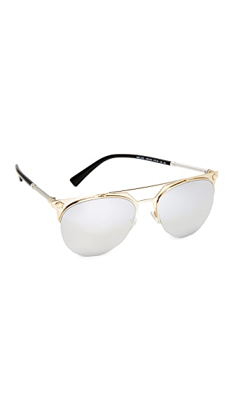 Versace Medusa Aviator Sunglasses In Pale Gold/Silver