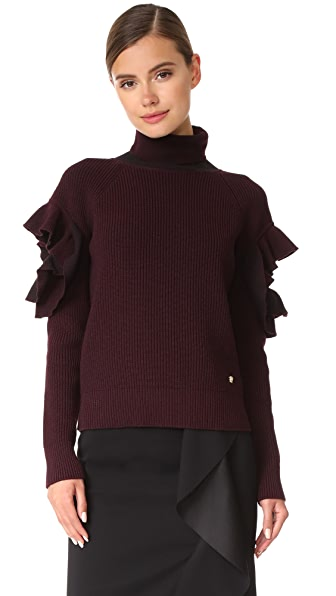 Versace Ruffle Arm Sweater - Burgundy