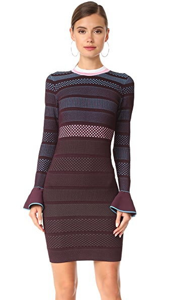 Versace Flutter Sleeve Knit Dress - Burgundy