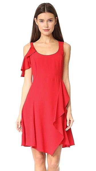 Versace Scoop Neck Mini Dress In Red