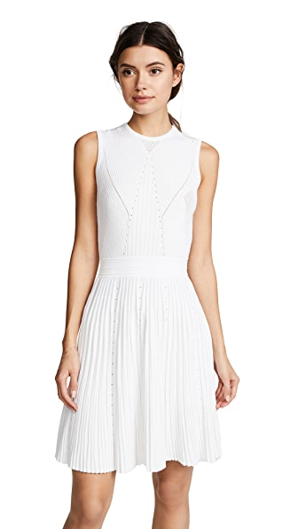Versace Pointelle Knit Dress with Flare Skirt In White