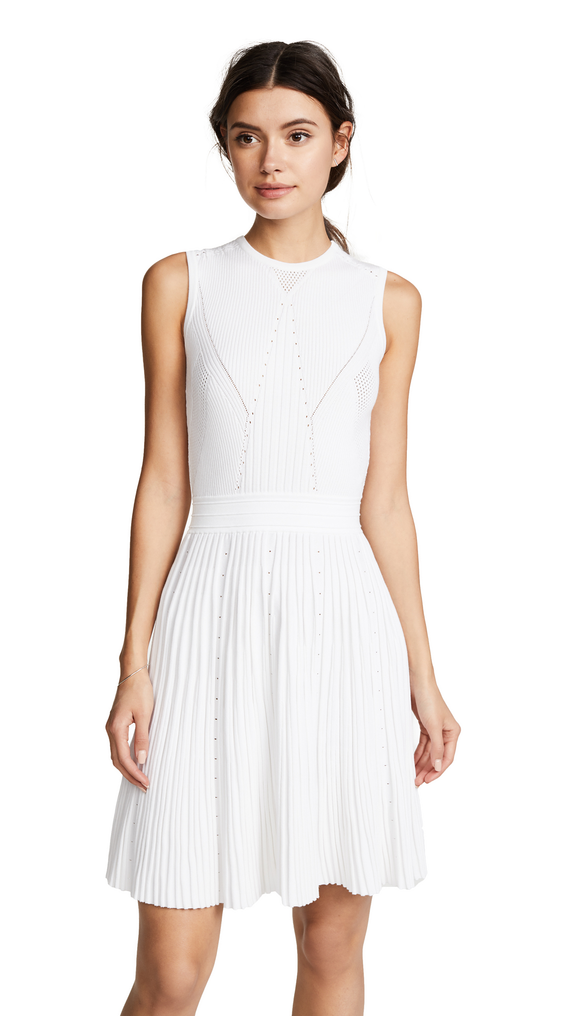 Versace Pointelle Knit Dress with Flare Skirt