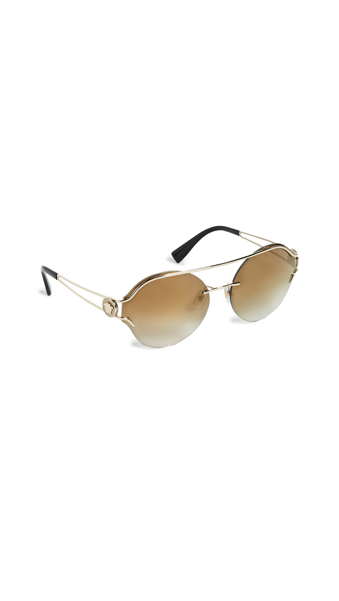 Versace Manifesto Round Sunglasses - Pale Gold/Brown Gold