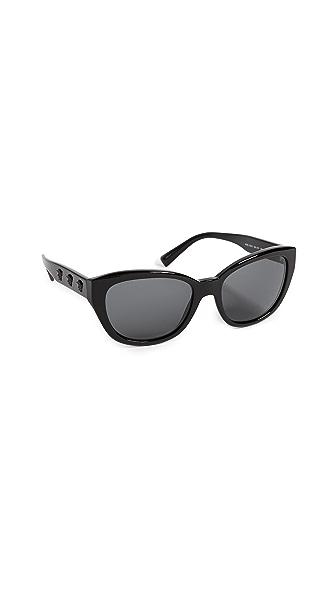 Versace Rock Oval Sunglasses In Black/Grey