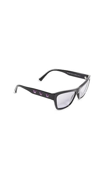 Versace Rock Square Sunglasses In Black/Lilac