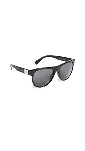 Versace Rock Icon Flat Lens Sunglasses In Black/Grey