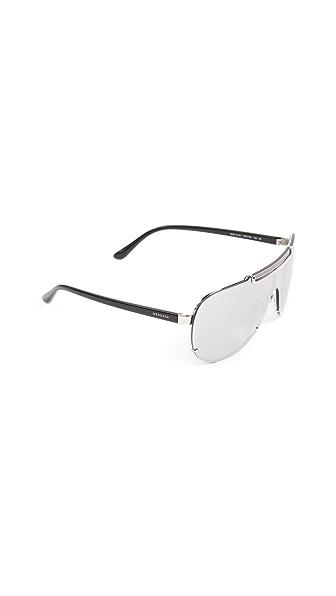 Versace Greca Shield Sunglasses In Silver/Silver