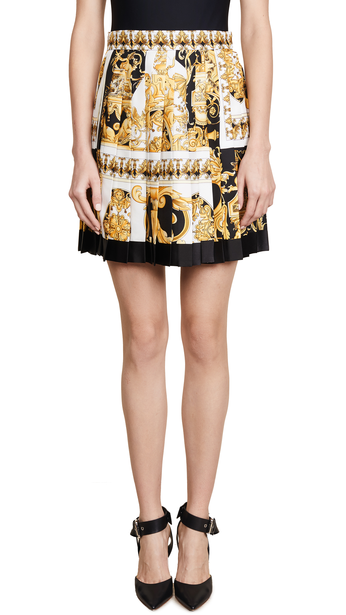 Versace Patterned Pleated Skirt In Multi