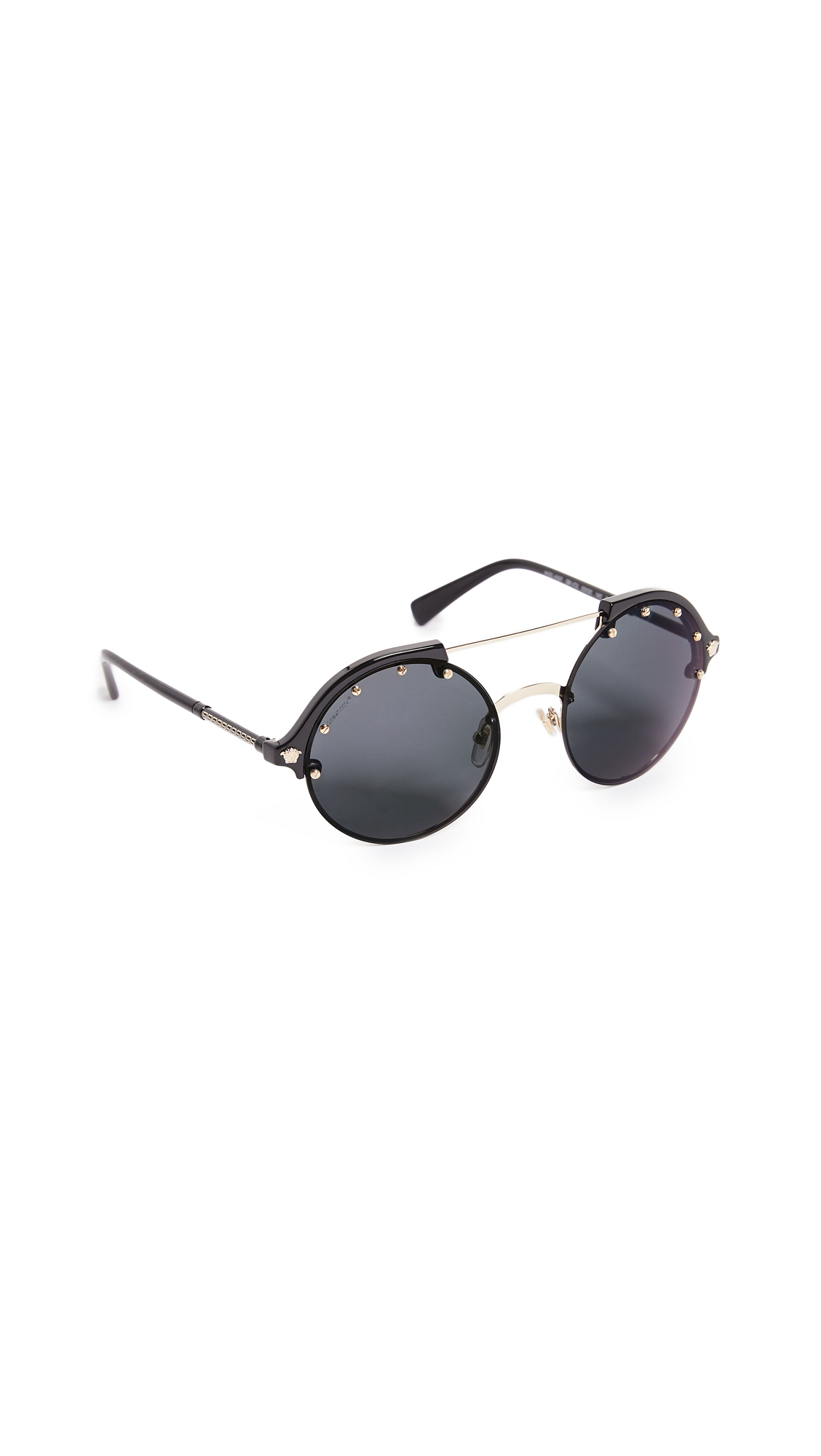 Versace Round Aviator Sunglasses - Black/Grey