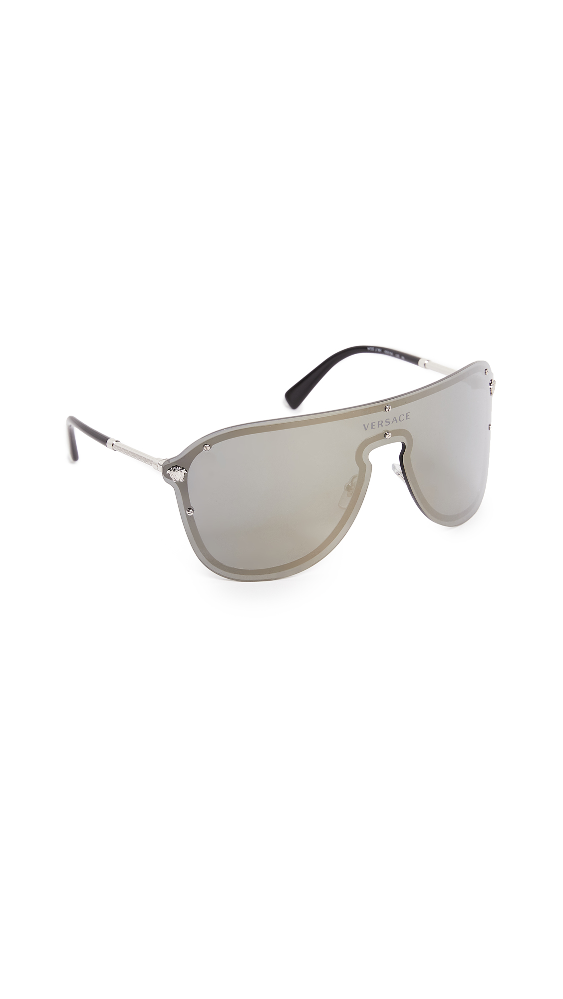 Versace Oversized Shield Sunglasses - Silver/Gold