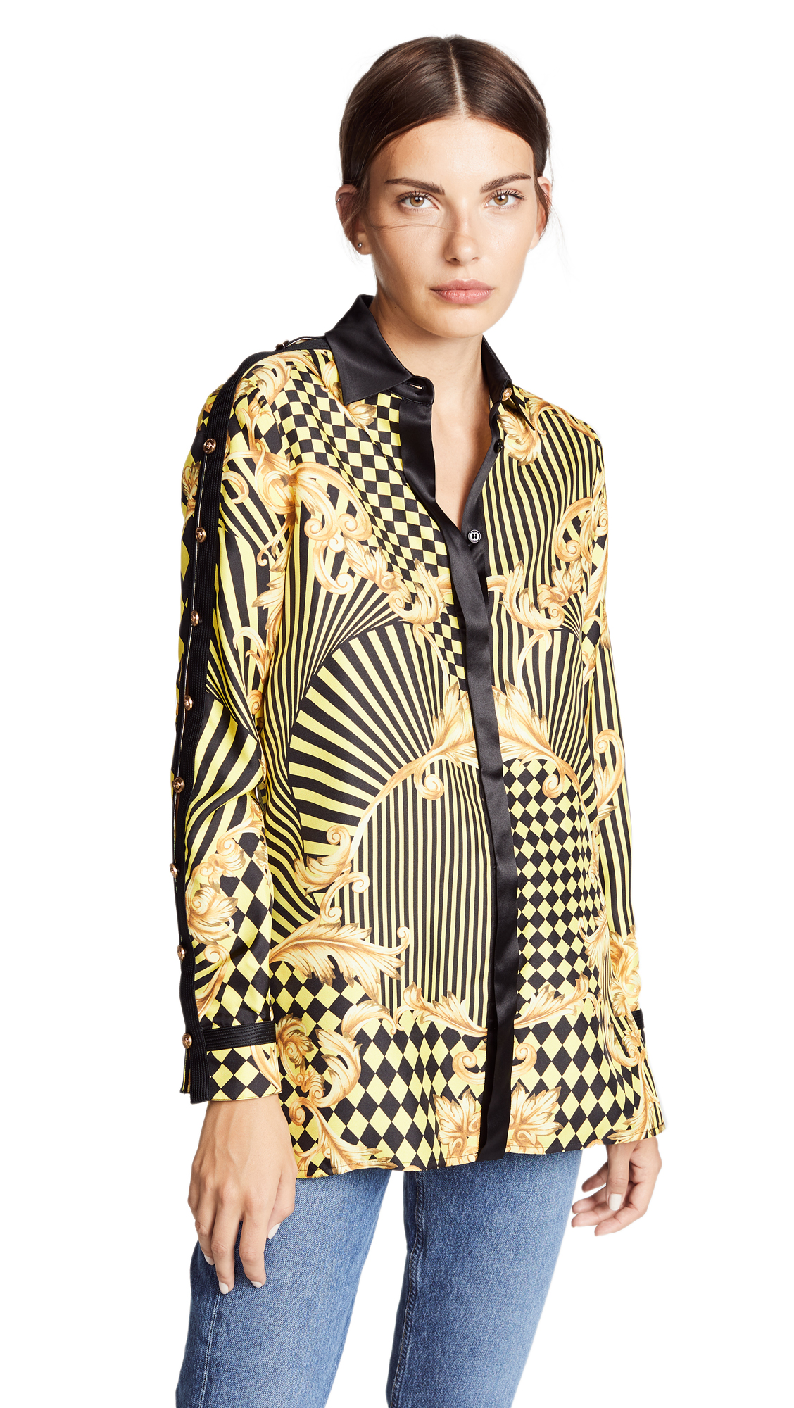Versace Print Button Shoulder Blouse In Yellow/Black