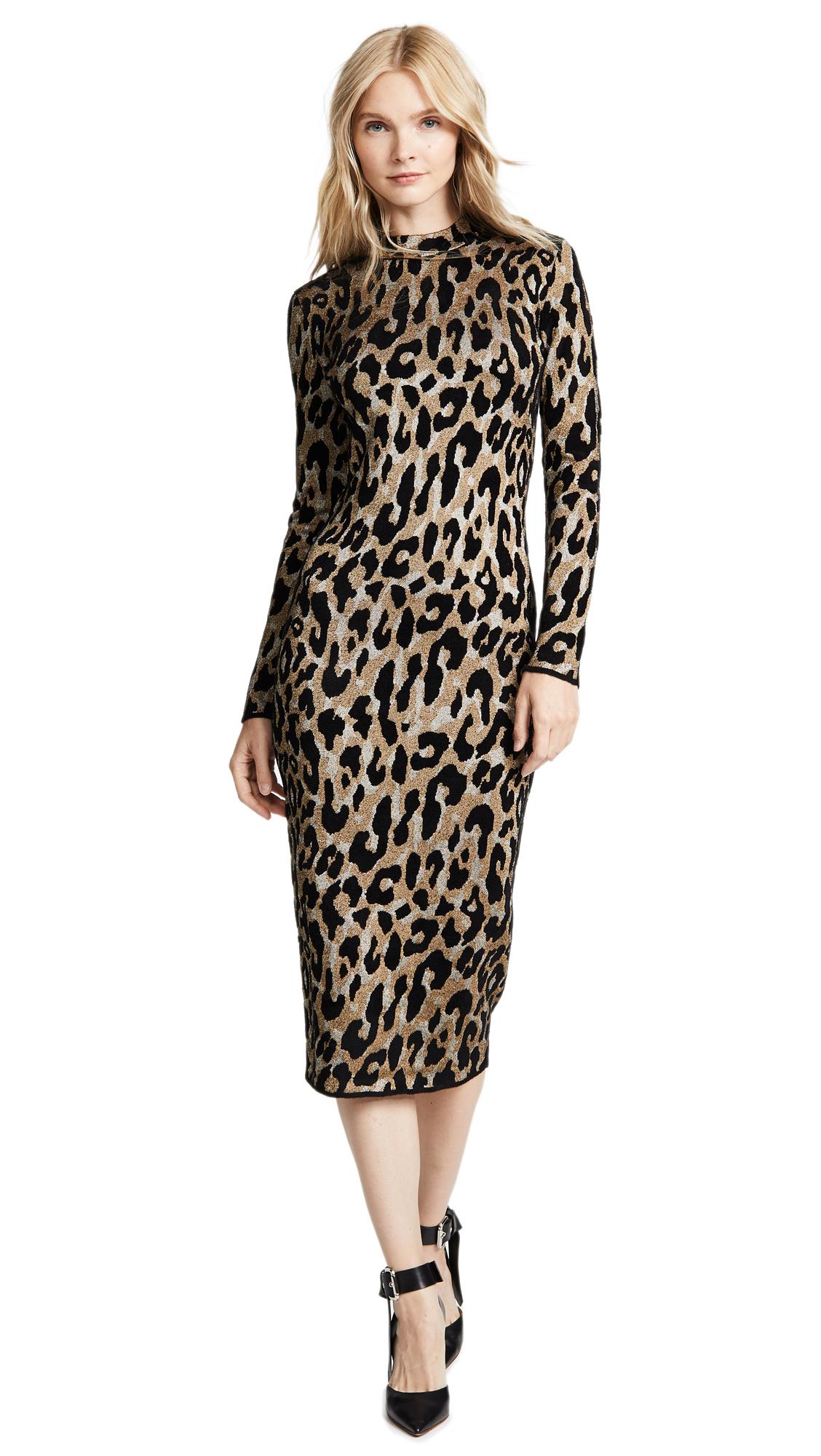 Versace Leopard Print Dress In Leopard
