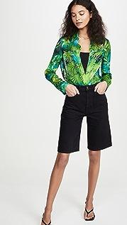Versace 棕榈树印花长袖女式衬衫
