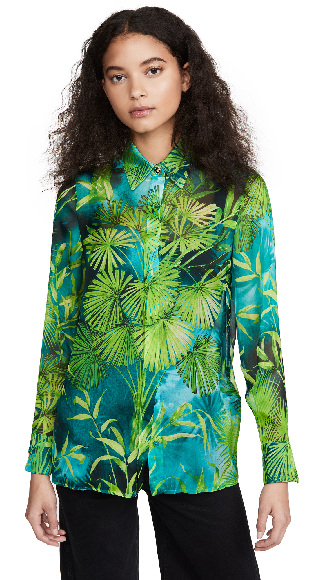 Versace Jungle-print Silk Button Down Shirt In Grün