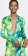 Versace Palm Print Low-V Bodysuit