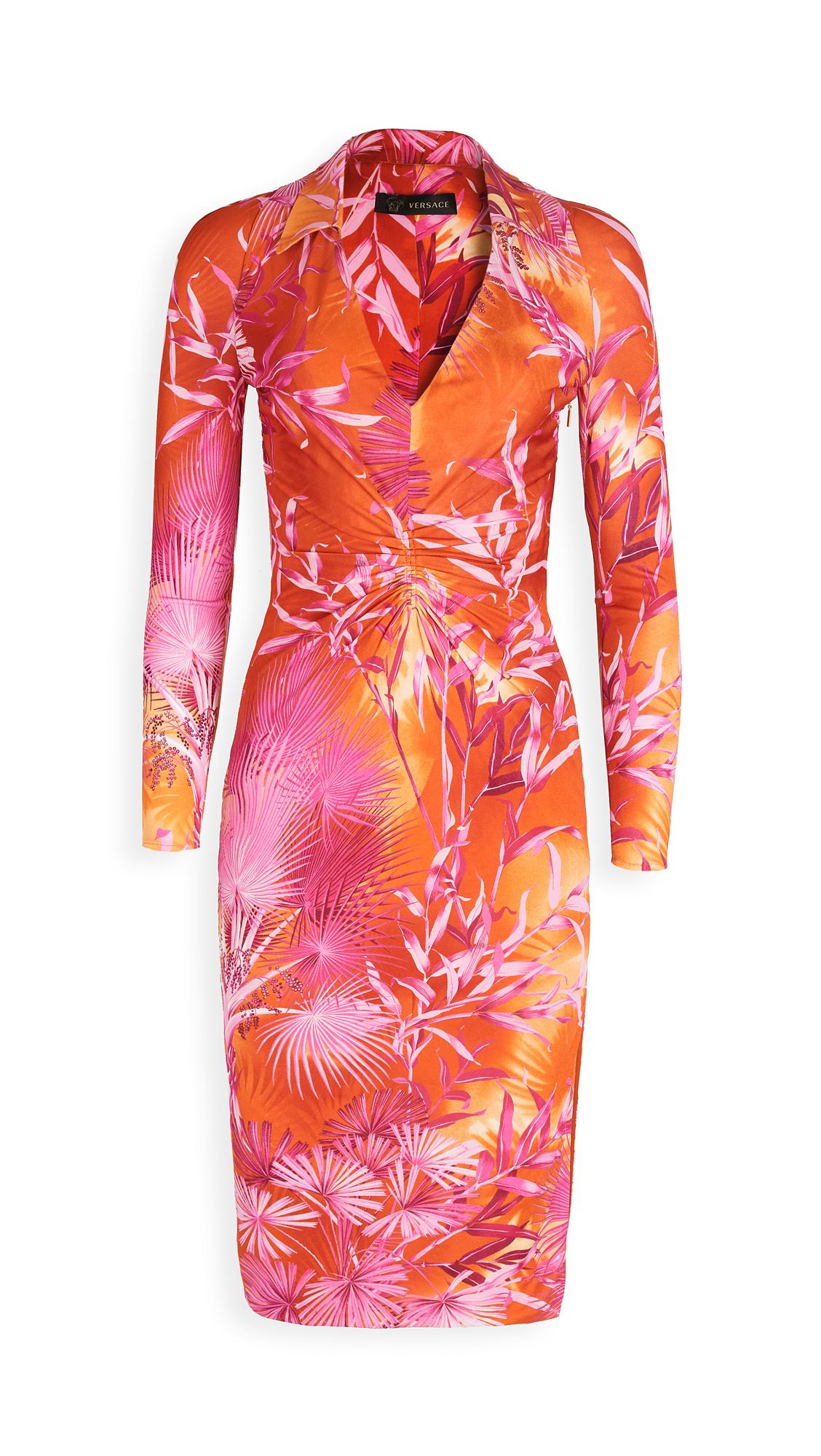 Versace Palm Print Jersey Low-V Dress – 30% Off Sale