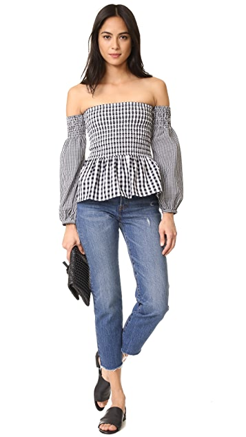 VETIVER Brigitte Long Sleeve Shoulder Top