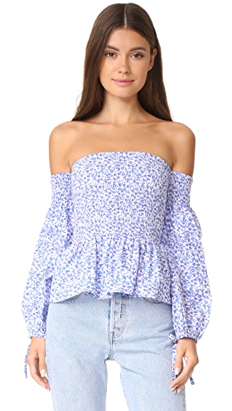 VETIVER Brigitte Top - Blue Floral