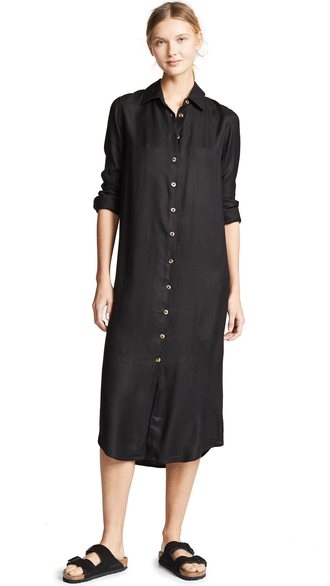 VETIVER Avalon Button Up Maxi Dress in Black