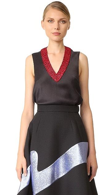Vika Gazinskaya Crochet Detail V Neck Top