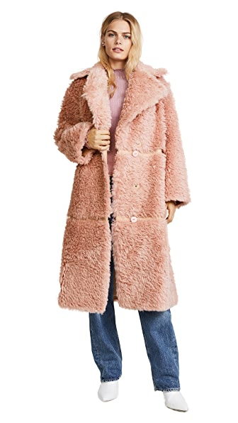 Vika Gazinskaya Oversized Faux Fur Coat In Pink