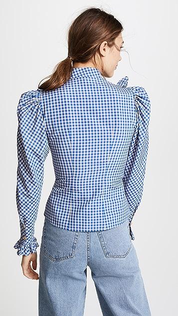 Vika Gazinskaya Checkered Print Ruffle Blouse
