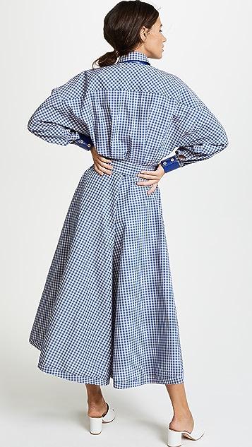 Vika Gazinskaya Checkered Belted Dress