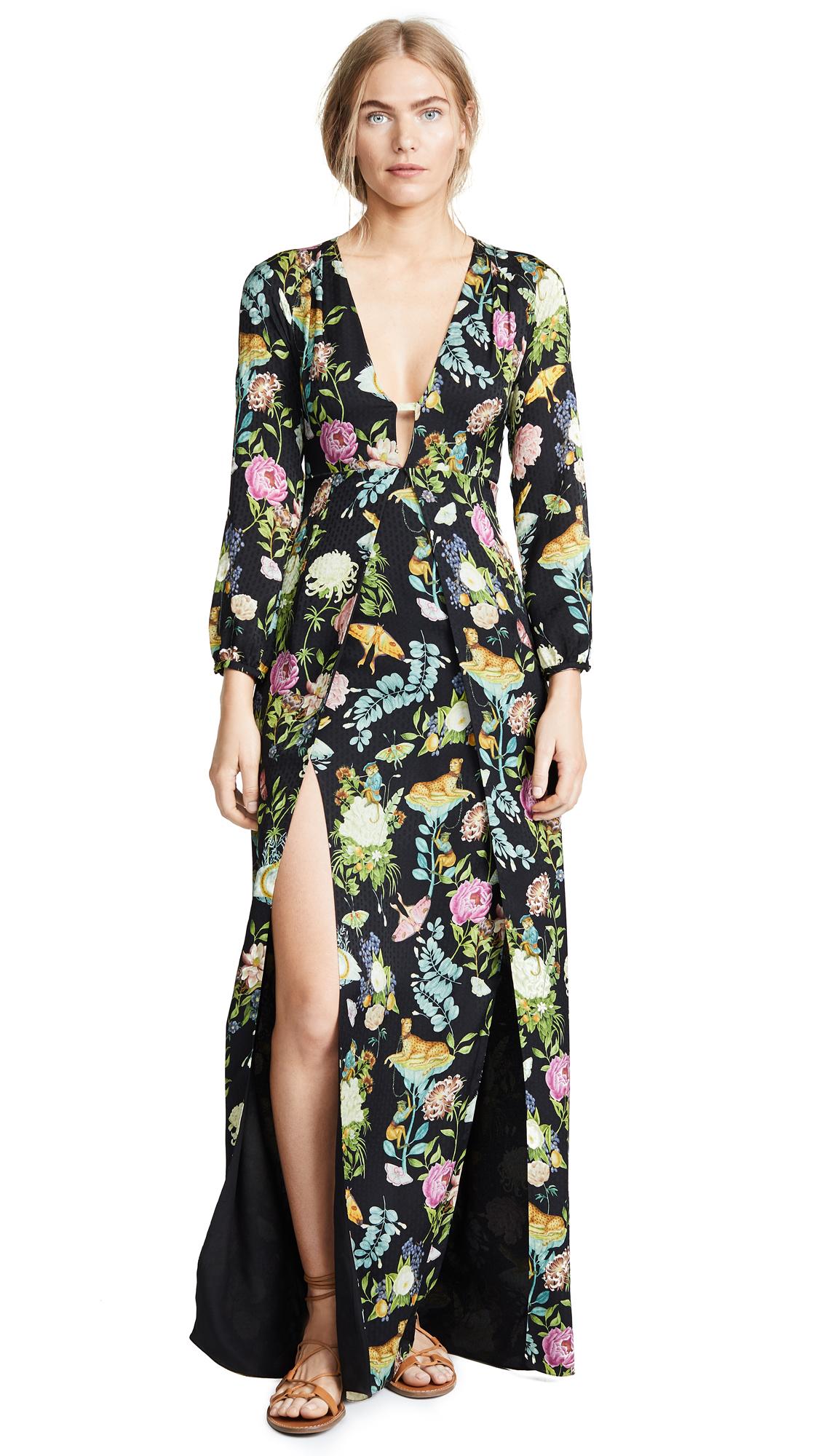 Vilshenko Briony V Neck Full Length Dress In Black/Multi