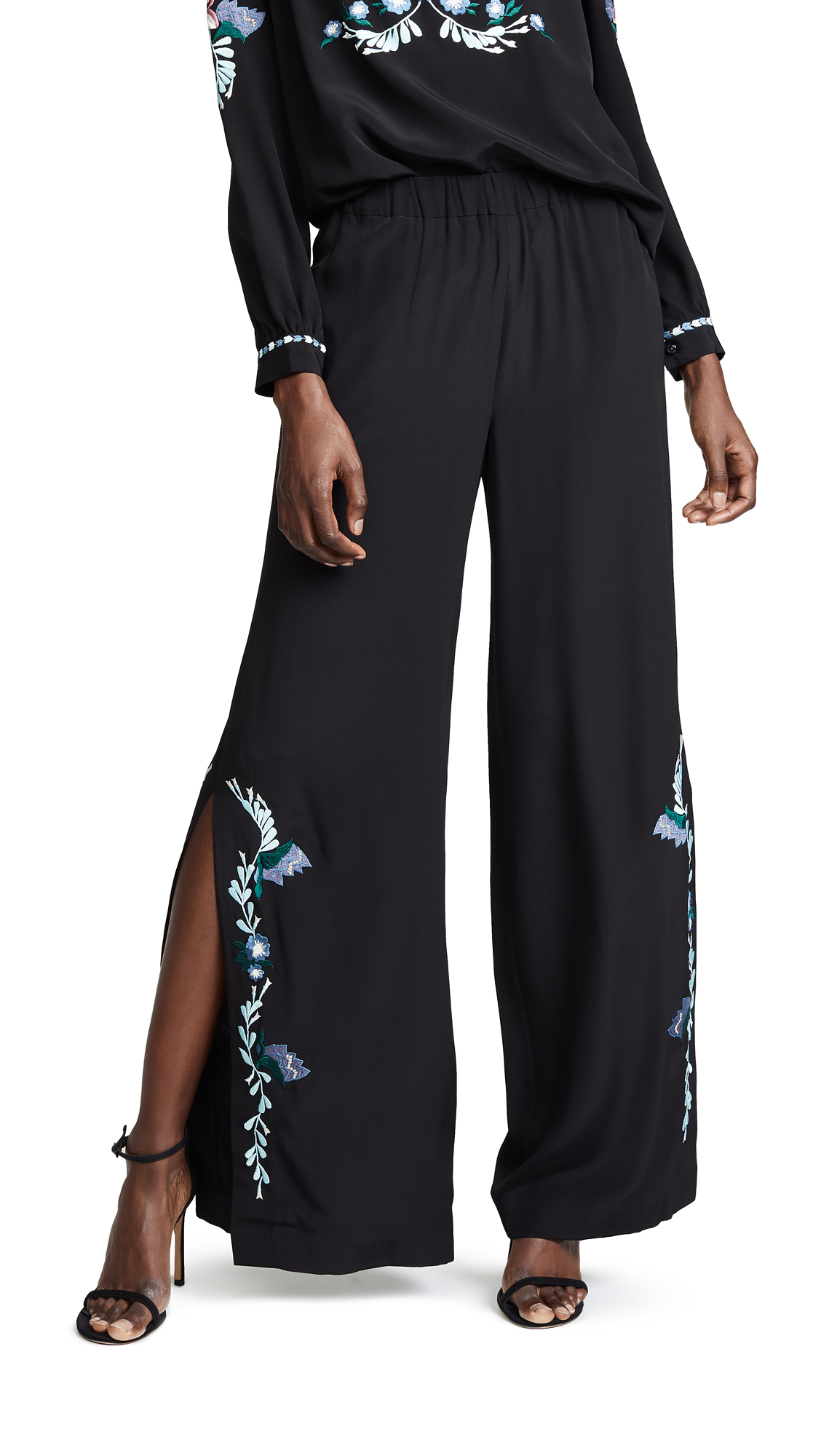 VILSHENKO Kady Side Split Trousers in Black
