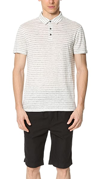 Vince Linen Feeder Stripe Short Sleeve Polo