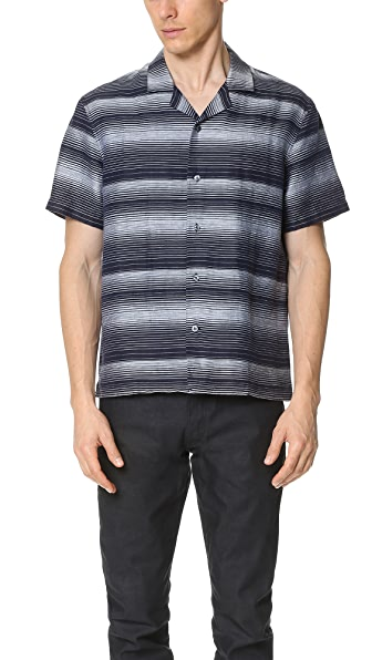 Vince Linen Engineered Stripe Topanga Shirt