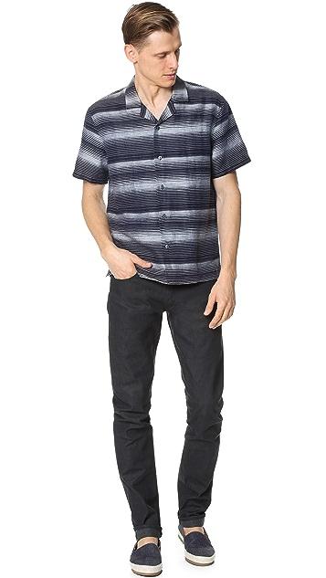 Vince Linen Engineered Stripe Topanga Shirt