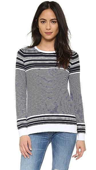 Vince Graphic Stripe Cotton Slub Crew Sweater - White/Coastal