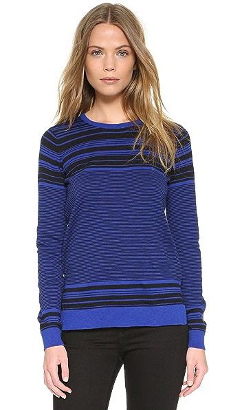 Vince Graphic Stripe Cotton Slub Crew Sweater - Capri/Black