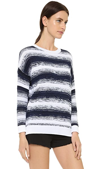 Vince Ombre Stripe Pullover Sweater - Blue Marine/Optic White
