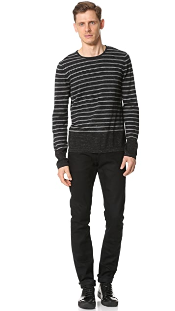 Vince Sporty Jaspe Striped Crew Neck Sweater