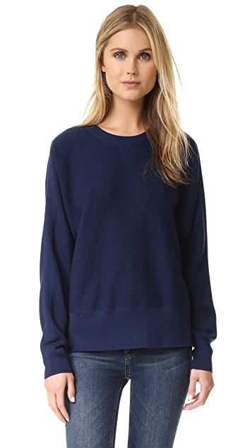 Vince Double Face Mesh Crew Pullover