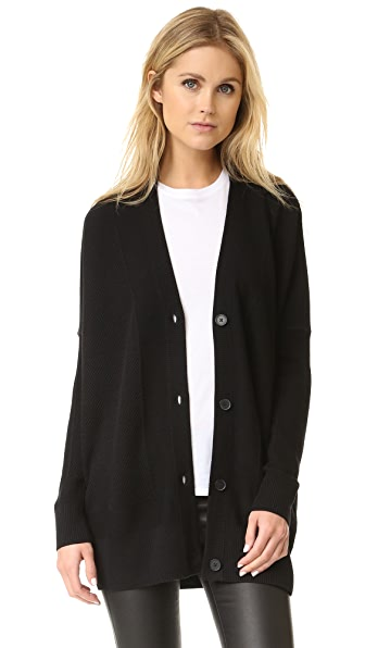 Vince Double Face Mesh Cardigan - Black at Shopbop