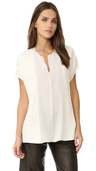 Vince Split Neck Pin Tuck Blouse - Off White at Shopbop