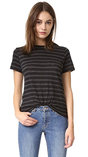 Vince Stripe Slub Short Sleeve Tee - Charcoal/Black at Shopbop