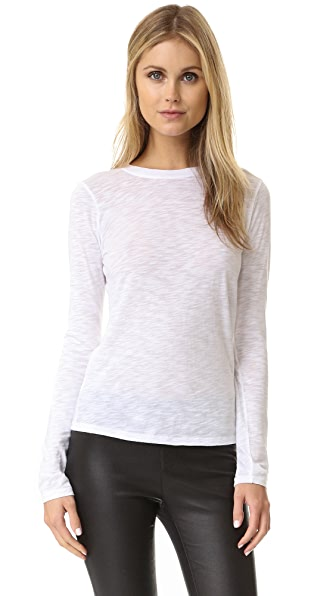 Vince Long Sleeve Slub Tee - Optic White at Shopbop
